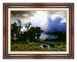 Albert Bierstadt Buffalo Trail The Impending Storm canvas with dark regal wood frame