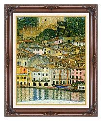 Gustav Klimt Malcesine On Lake Garda Detail canvas with dark regal wood frame