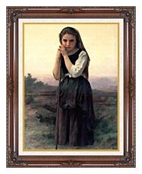 William Bouguereau Little Shepherdess canvas with dark regal wood frame