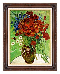 Vincent Van Gogh Still Life Red Poppies And Daisies canvas with dark regal wood frame