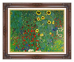 Gustav Klimt Farm Garden With Sunflowers Detail canvas with dark regal wood frame