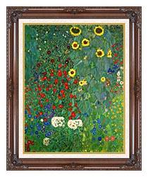 Gustav Klimt Farm Garden With Sunflowers Portrait Detail canvas with dark regal wood frame