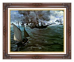 Edouard Manet Battle Of The Kearsarge And The Alabama Detail canvas with dark regal wood frame