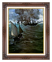 Edouard Manet Battle Of The Kearsarge And The Alabama Portrait Detail canvas with dark regal wood frame