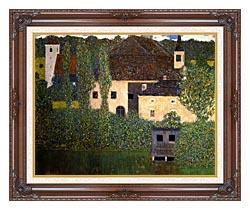 Gustav Klimt Schloss Kammer On The Attersee I Detail canvas with dark regal wood frame