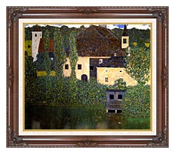 Gustav Klimt Schloss Kammer On The Attersee I canvas with dark regal wood frame