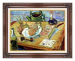 Vincent Van Gogh Still Life Plate With Onions Drawing Board Pipe And Other Objects canvas with dark regal wood frame