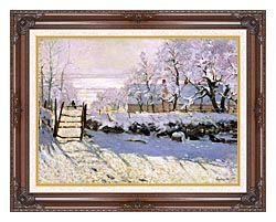 Claude Monet The Magpie Snow Effect canvas with dark regal wood frame