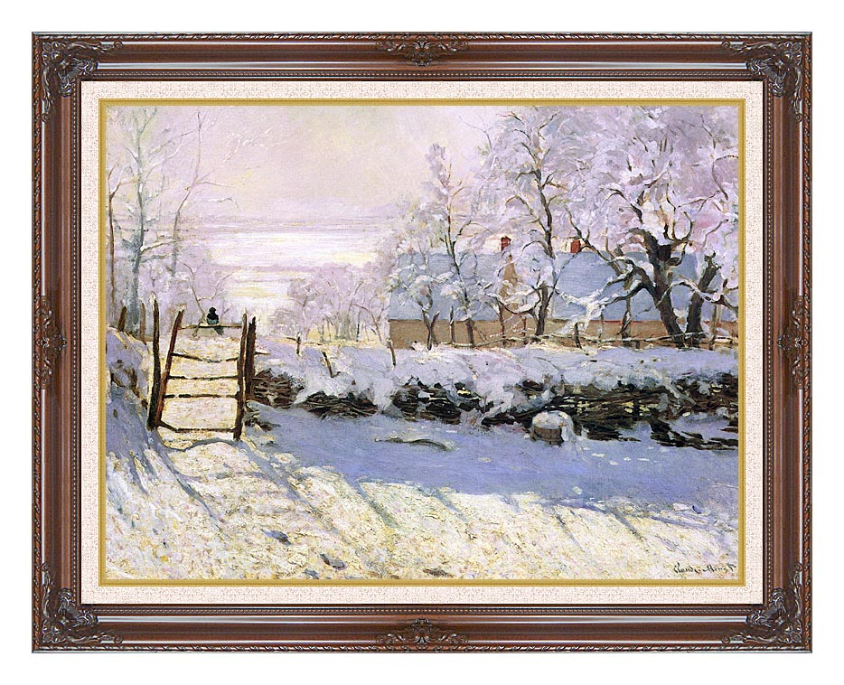 Claude Monet The Magpie, Snow Effect with Dark Regal Frame w/Liner