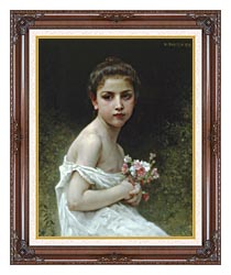 William Bouguereau Little Girl With A Bouquet canvas with dark regal wood frame