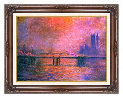 Claude Monet Charing Cross Bridge La Tamise 1903 canvas with dark regal wood frame