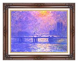 Claude Monet Charing Cross Bridge La Tamise canvas with dark regal wood frame