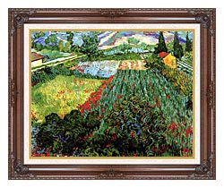 Vincent Van Gogh Field With Poppies canvas with dark regal wood frame
