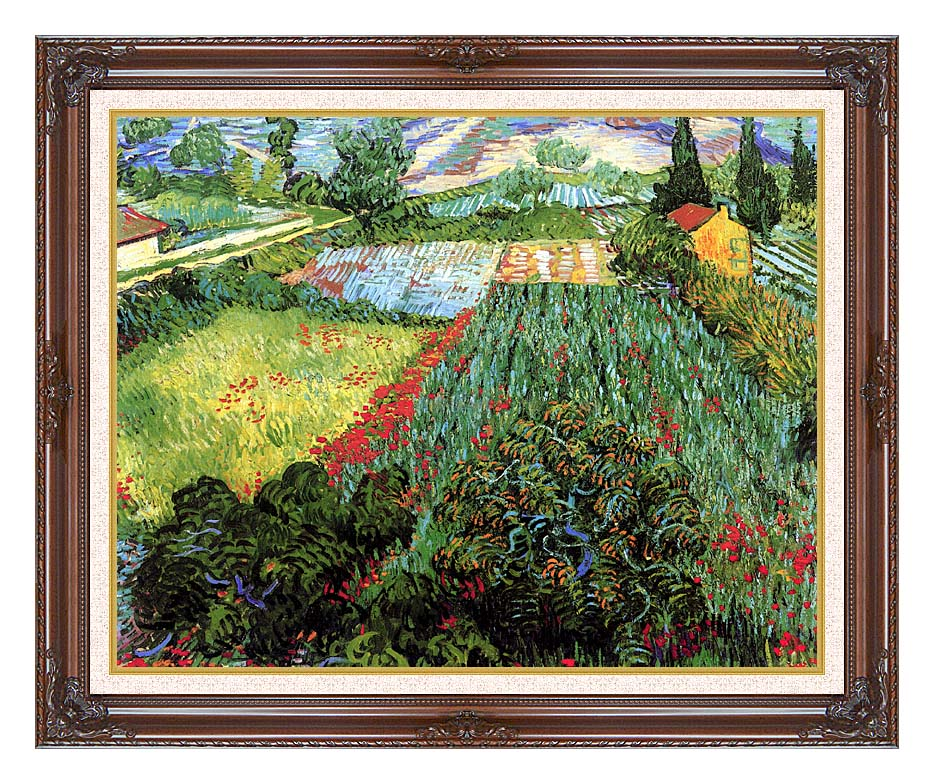 Vincent van Gogh Field with Poppies with Dark Regal Frame w/Liner