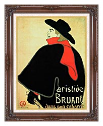 Henri De Toulouse Lautrec Aristide Bruant In His Cabaret canvas with dark regal wood frame