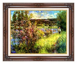 Pierre Auguste Renoir The Seine At Chatou canvas with dark regal wood frame