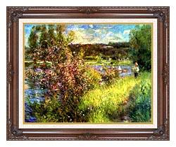 Pierre Auguste Renoir The Seine At Chatou canvas with dark regal wood frame