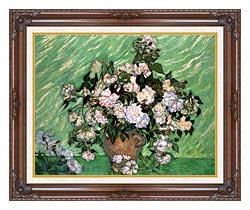 Vincent Van Gogh Vase With Pink Roses I canvas with dark regal wood frame
