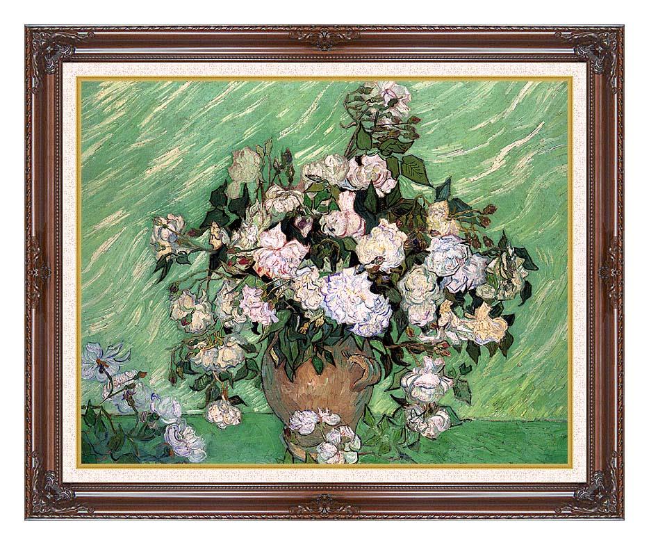 Vincent van Gogh Vase with Pink Roses I with Dark Regal Frame w/Liner