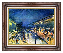 Camille Pissarro Boulevard Montmartre Night Effect canvas with dark regal wood frame