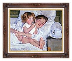 Mary Cassatt Breakfast In Bed canvas with dark regal wood frame