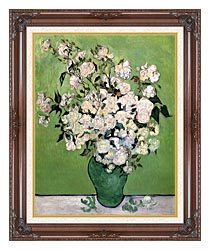 Vincent Van Gogh Vase With Pink Roses II canvas with dark regal wood frame