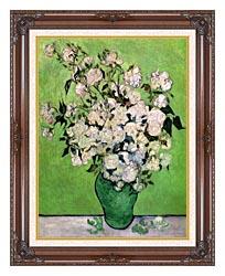 Vincent Van Gogh Vase With Pink Roses III canvas with dark regal wood frame
