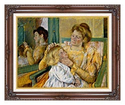 Mary Cassatt Mother Combing Her Childs Hair canvas with dark regal wood frame