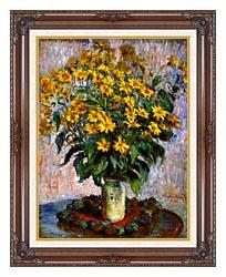 Claude Monet Jerusalem Artichoke Flowers canvas with dark regal wood frame