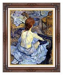 Henri De Toulouse Lautrec Rousse La Toilette canvas with dark regal wood frame
