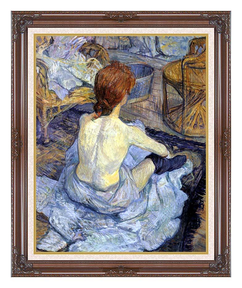 Henri de Toulouse Lautrec Rousse, La Toilette with Dark Regal Frame w/Liner