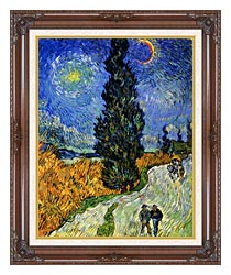Vincent Van Gogh Road With Men Walking Carriage Cypress Star And Crescent Moon canvas with dark regal wood frame