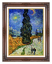 Vincent Van Gogh Road With Men Walking Carriage Cypress Star And Crescent Moon 1890 canvas with dark regal wood frame