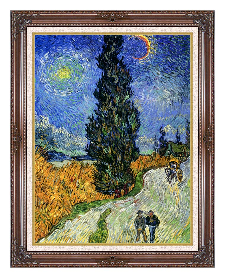 Vincent van Gogh Road with Men Walking, Carriage, Cypress, Star and Crescent Moon 1890 with Dark Regal Frame w/Liner