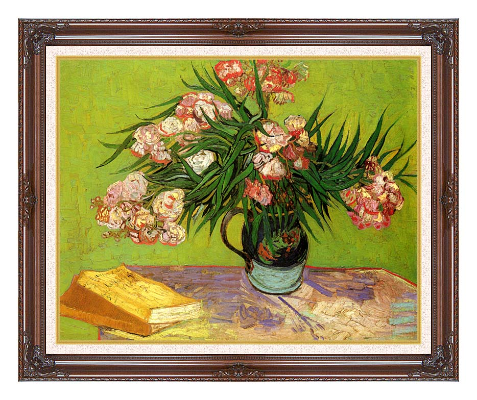 Vincent van Gogh Majolica Jar with Branches of Oleander with Dark Regal Frame w/Liner