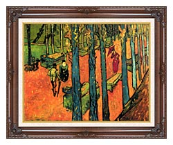 Vincent Van Gogh Les Alyscamps Avenue At Arles canvas with dark regal wood frame