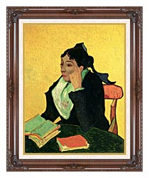 Vincent Van Gogh Madame Ginoux With Books canvas with dark regal wood frame