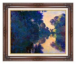 Claude Monet Morning On The Seine Near Giverny canvas with dark regal wood frame