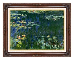 Claude Monet Green Reflections I Left Detail canvas with dark regal wood frame