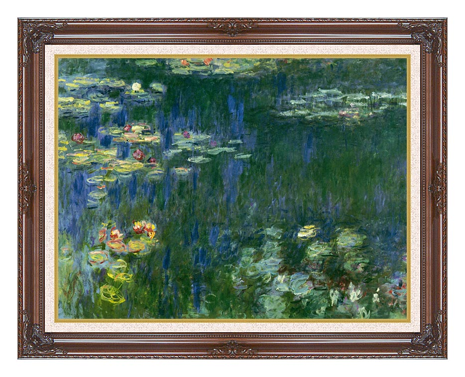 Claude Monet Green Reflections I (left detail) with Dark Regal Frame w/Liner