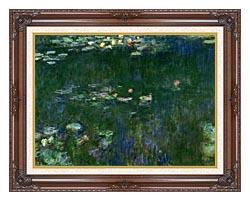 Claude Monet Green Reflections II Center Detail canvas with dark regal wood frame