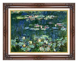 Claude Monet Green Reflections III Right Detail canvas with dark regal wood frame