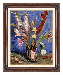 Vincent Van Gogh Vase With Gladioli canvas with dark regal wood frame