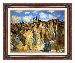 Claude Monet The Church At Varengeville Morning Effect Landscape Detail canvas with dark regal wood frame