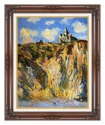 Claude Monet The Church At Varengeville Morning Effect Portrait Detail canvas with dark regal wood frame