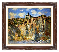 Claude Monet The Church At Varengeville Morning Effect canvas with dark regal wood frame