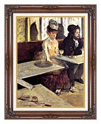 Edgar Degas The Absinthe Drinker In A Cafe canvas with dark regal wood frame