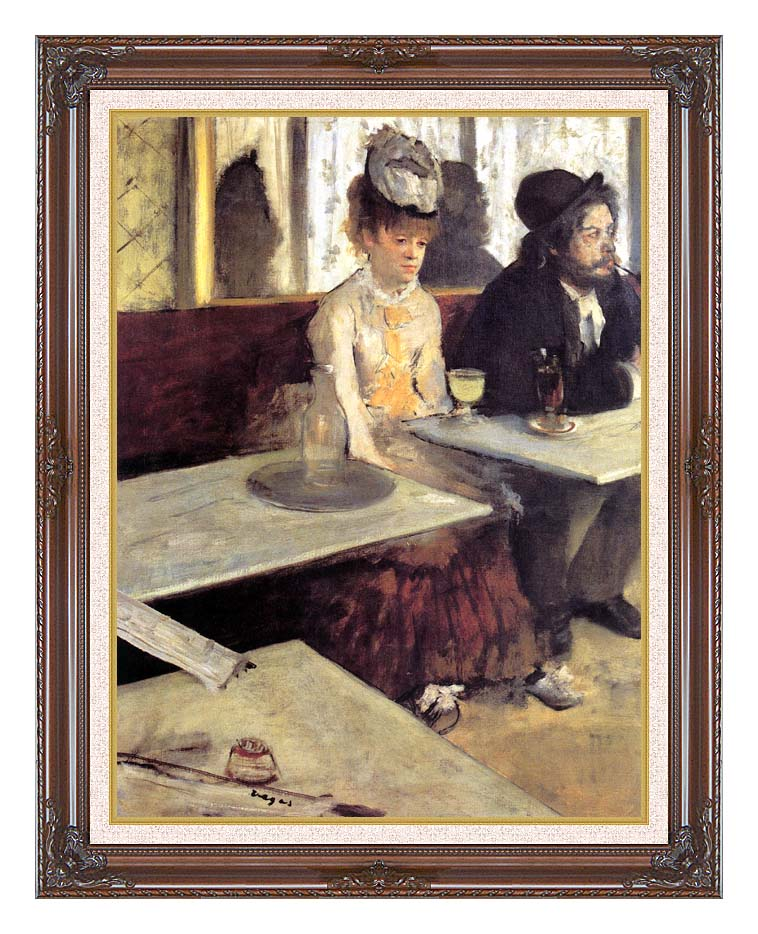 Edgar Degas The Absinthe Drinker in a Cafe with Dark Regal Frame w/Liner
