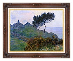 Claude Monet The Church At Varengeville Grey Weather canvas with dark regal wood frame