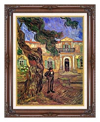 Vincent Van Gogh Pine Tree And Figure In Front Of The Saint Paul Hospital canvas with dark regal wood frame